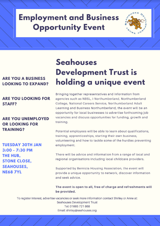 Business and Employment advice event in Seahouses